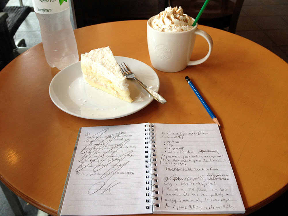 Ralf Skirr's Blogging Workspace At Starbucks Tukcom, Pattaya.