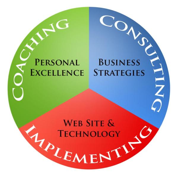 Circle with 3 segments: coaching, consulting, and implementing.