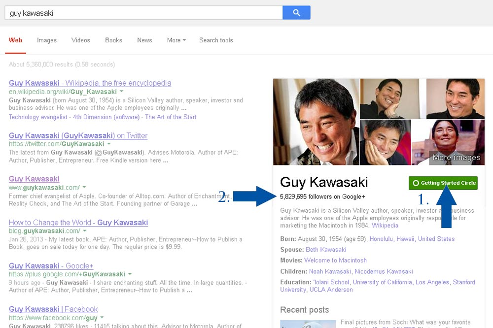 Guy Kawasaki - Google Search Circle Box