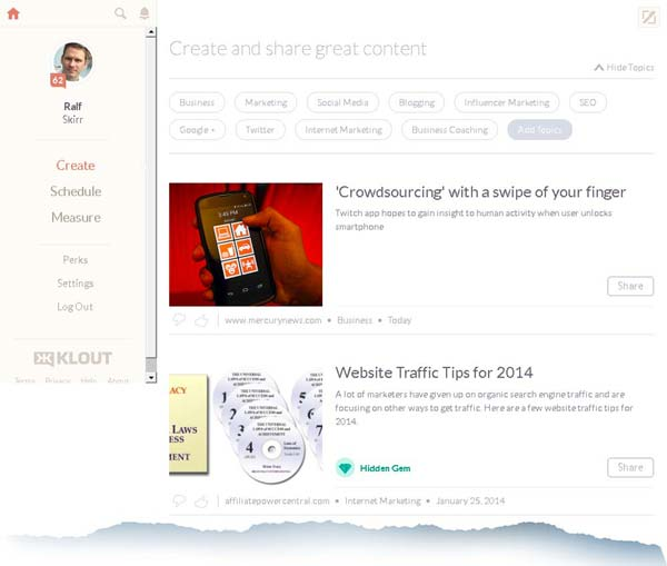 Klout Offers FREE Social Media Sharing Tool– What's In It For Klout - klout-create-and-share-content