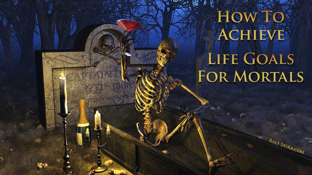 Cartoon Skeleton Celebrating On Graveyard