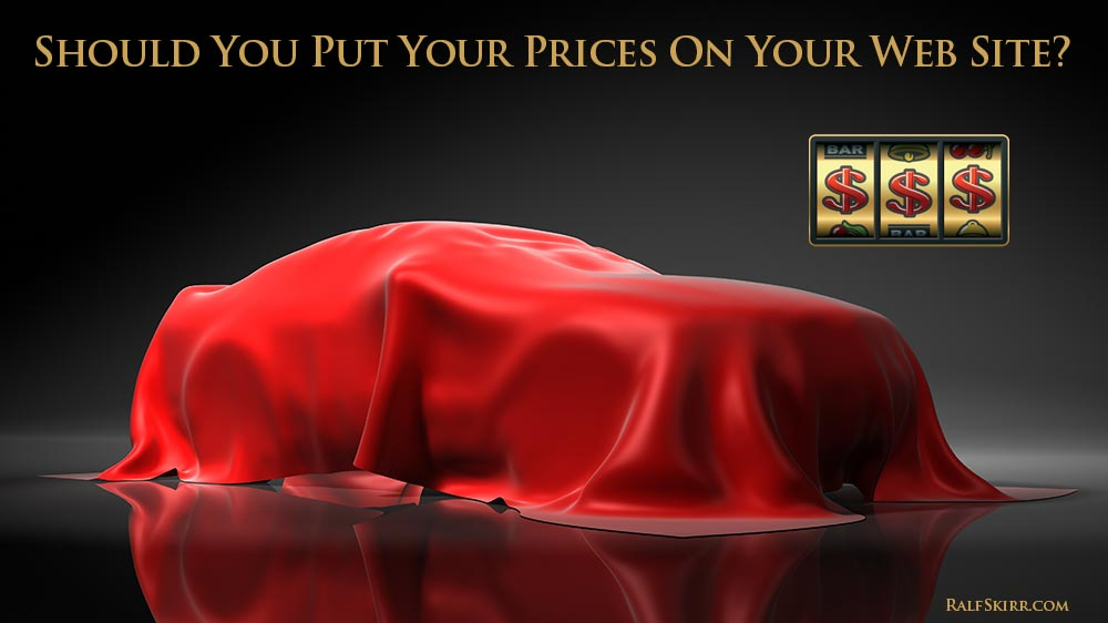 Luxury car. Text asking: Should You Put Prices On Your Web Site?