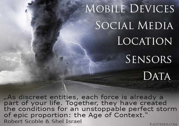5 forces: mobile, social media, location, sensors, data.