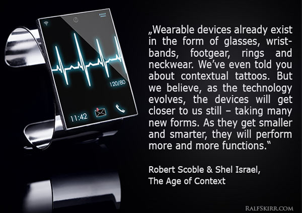 Smartwatch and quote on wearable devices from Age of Context book.