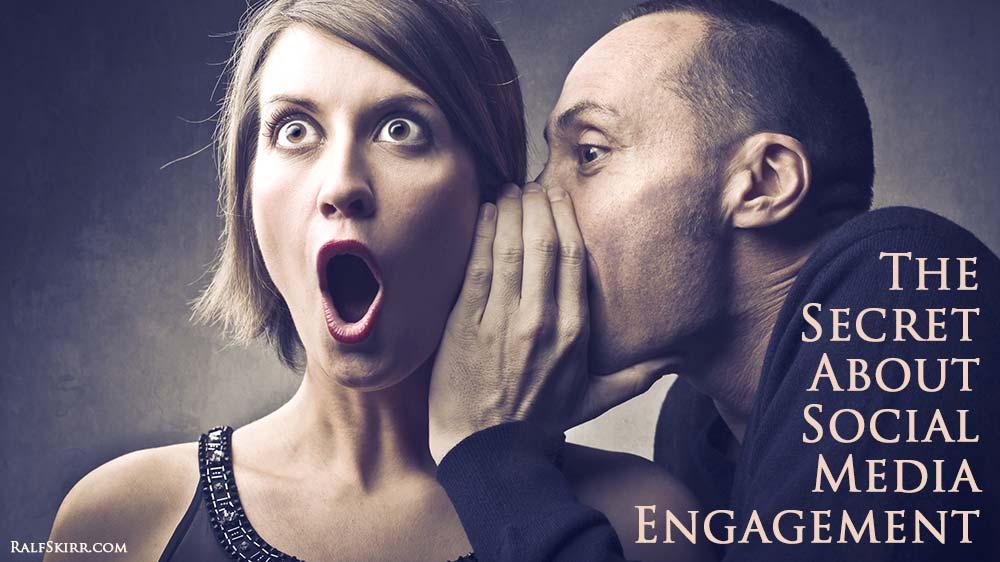 Man whispering secret in woman's ear.